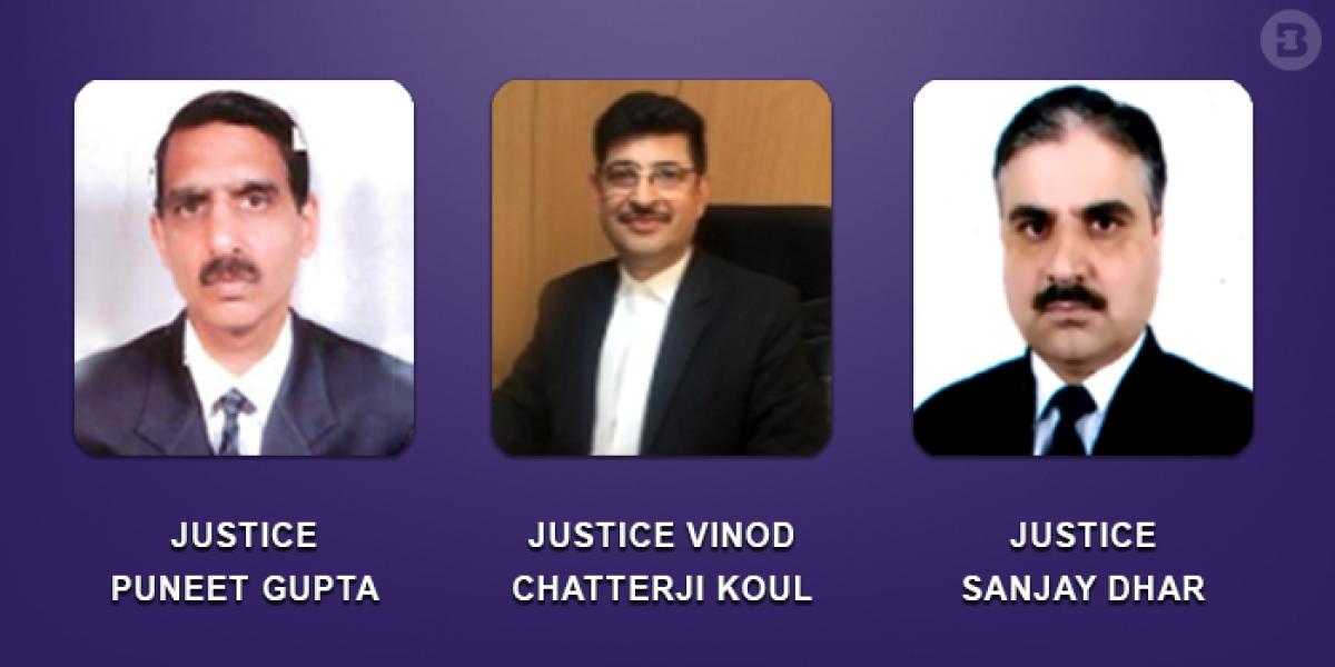 Justices Vinod Chatterji Koul, Sanjay Dhar and Puneet Gupta