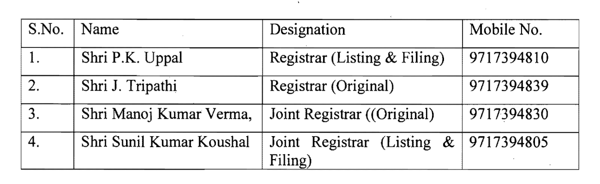 List of designated Registrars
