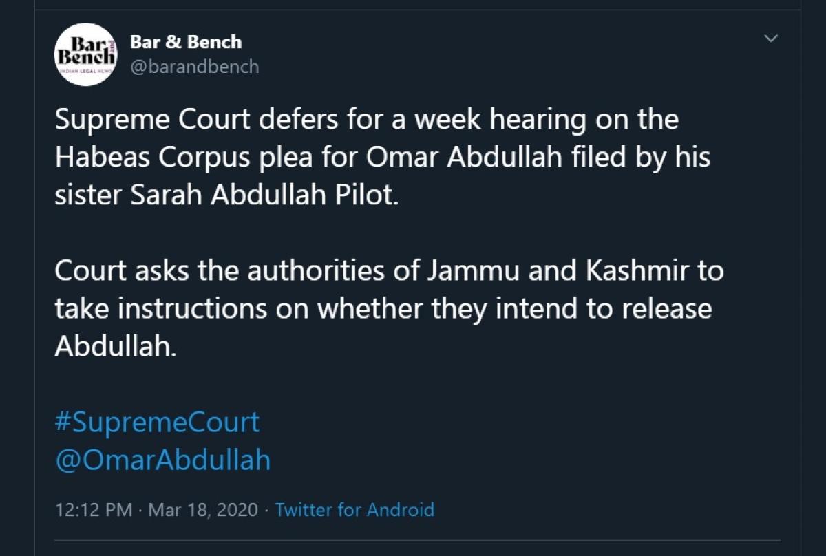 PSA Detention of former J&K CM Omar Abdullah: Supreme Court gives J&K Administration a week to decide on release