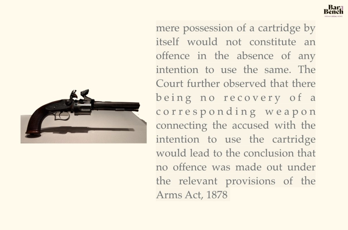 """...mere possession of a cartridge by itself would not constitute an offence in the absence of any intention to use the same.."" Vaninath Uppalapati v. State"