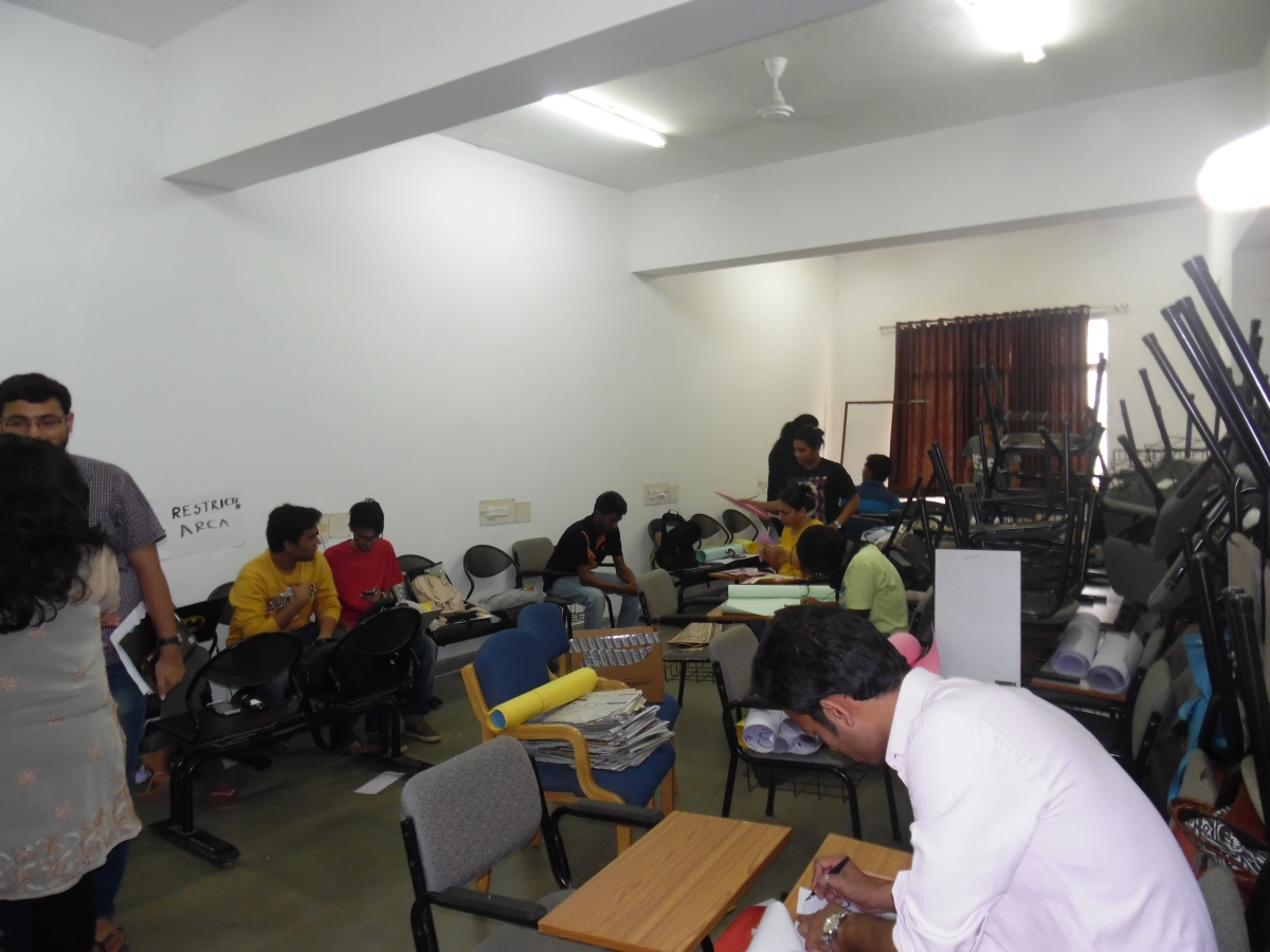 Students preparing for Colossus, the University's sports and cultural fest