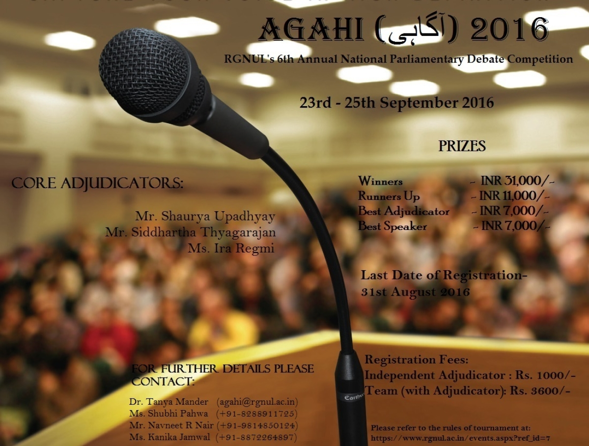"""RGNUL's National Parliamentary Debate Competition """"Agahi"""" (Register by August 31)"""