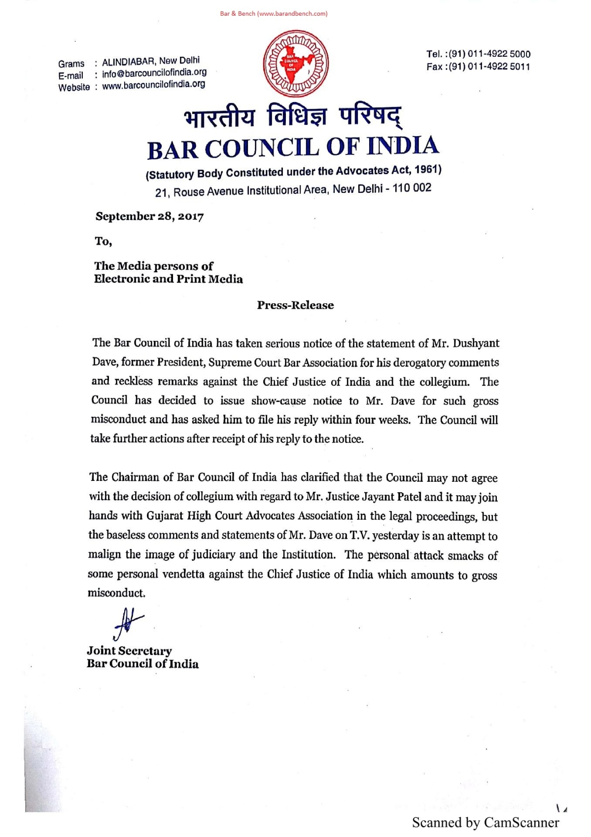 BCI issues show cause notice to Dushyant Dave for remarks against CJI Dipak Misra, Collegium
