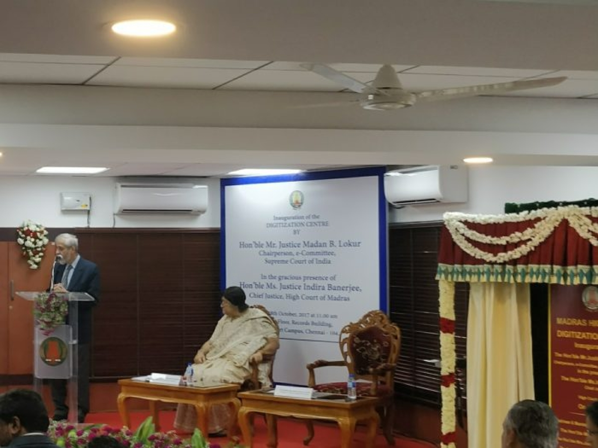 Justice Lokur at the launch of the Madras HC Digitization Centre