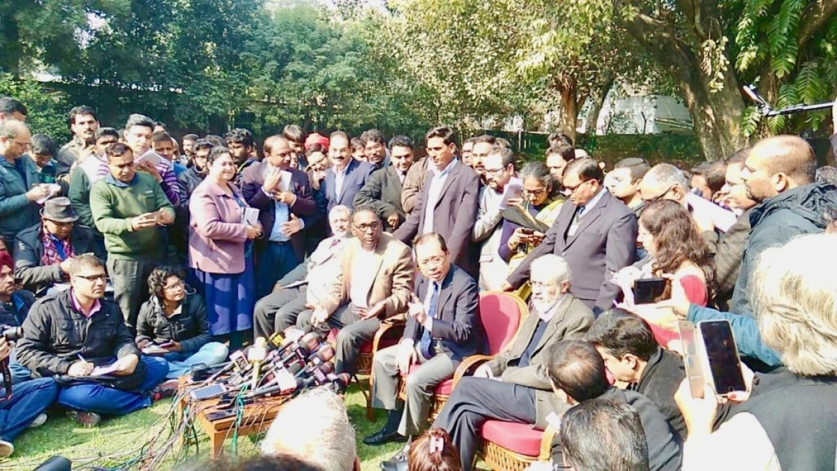 Supreeme Court Justices Chelameswar, Ranjan Gogoi, Madan Lokur and Kurian Joseph held a press conference against CJI Dipak Misra