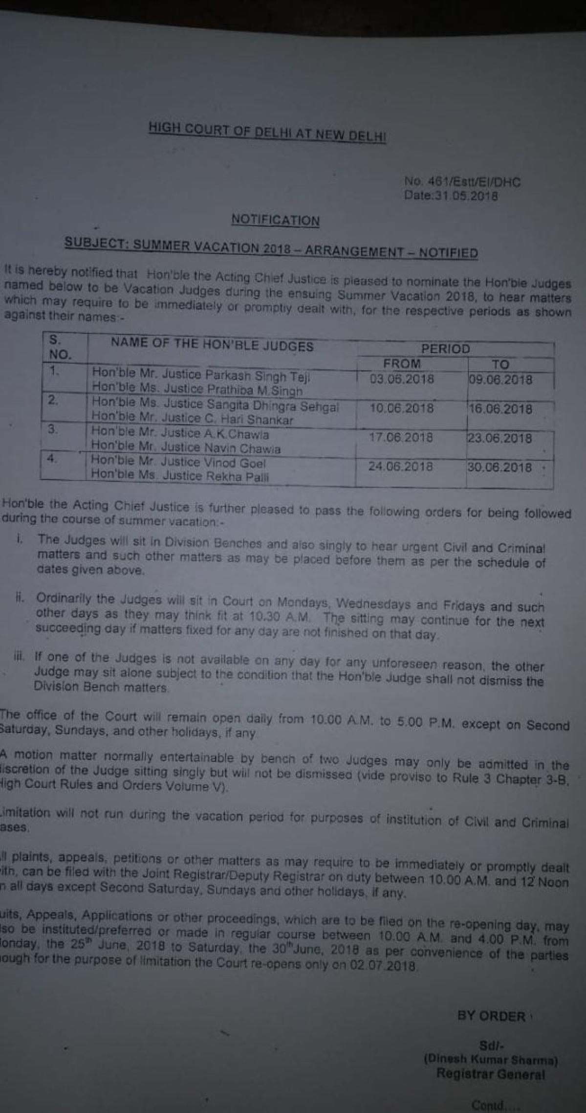 Acting CJ of Delhi HC Gita Mittal nominates vacation benches