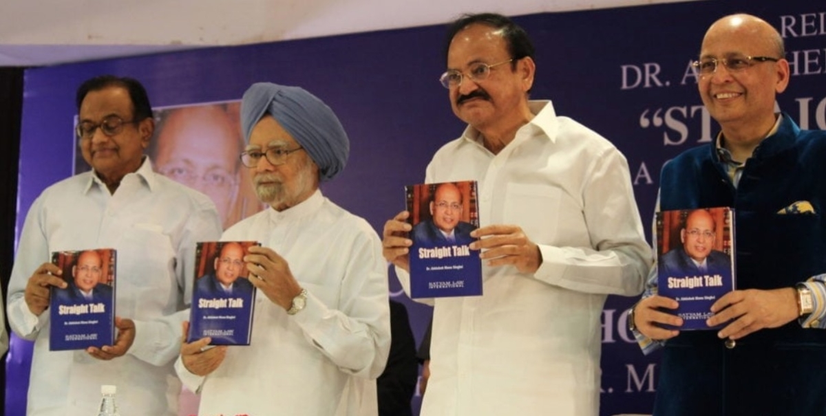 VP Venkaiah Naidu, former PM Manmohan Singh at launch of Abhishek Manu Singhvi's book Straight Talk