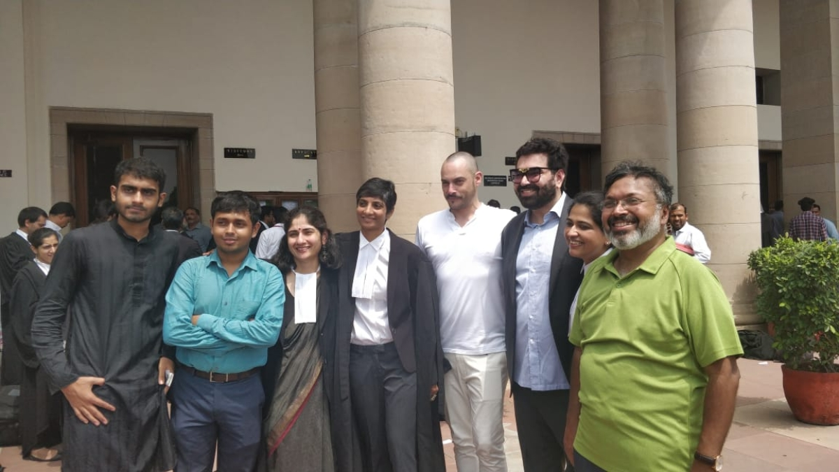 Menaka Guruswamy and Arundhati Katju with the petitioners in the case