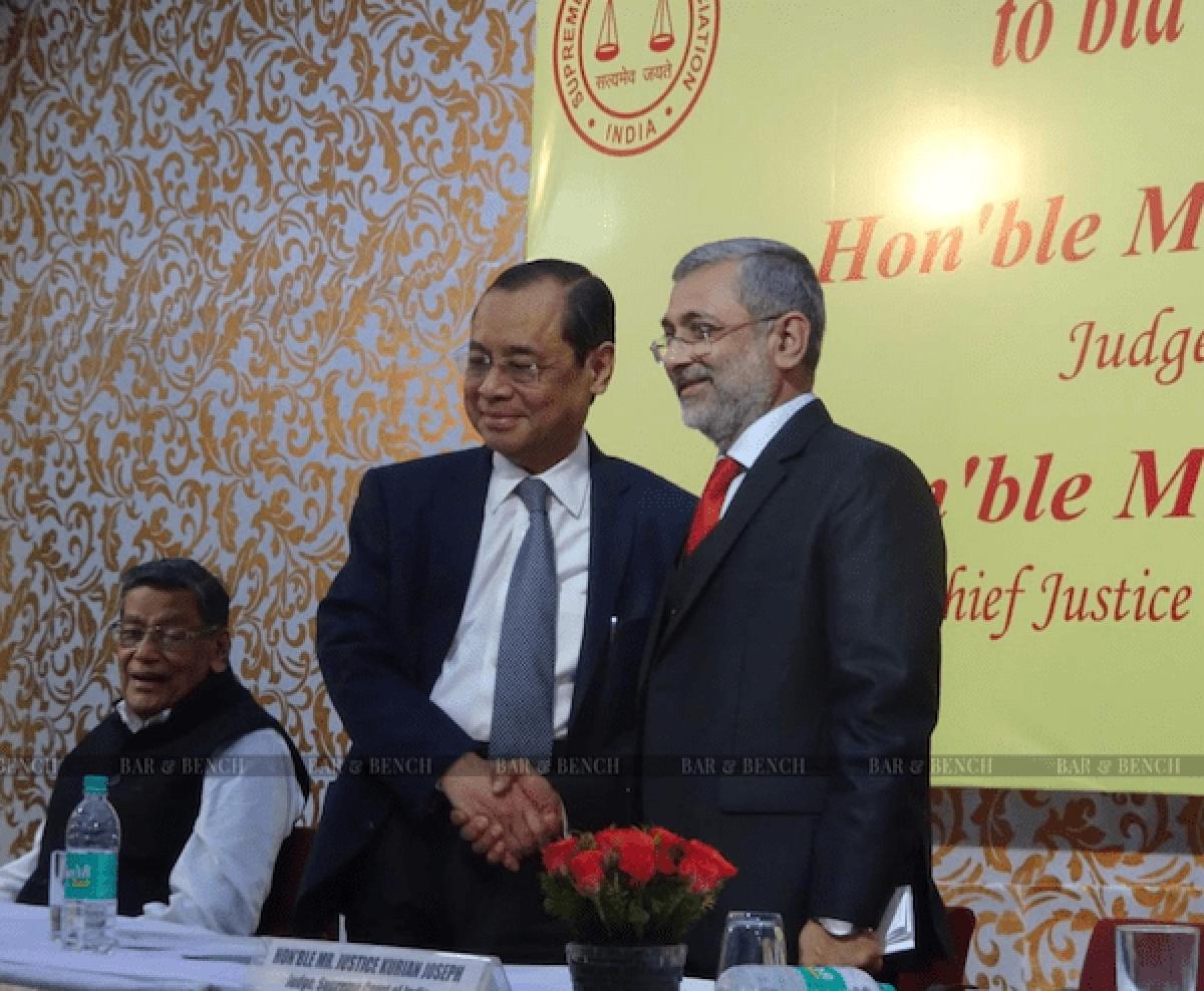CJI Ranjan Gogoi with Justice Kurian Joseph. Attorney General KK Venugopal seated on the far left.