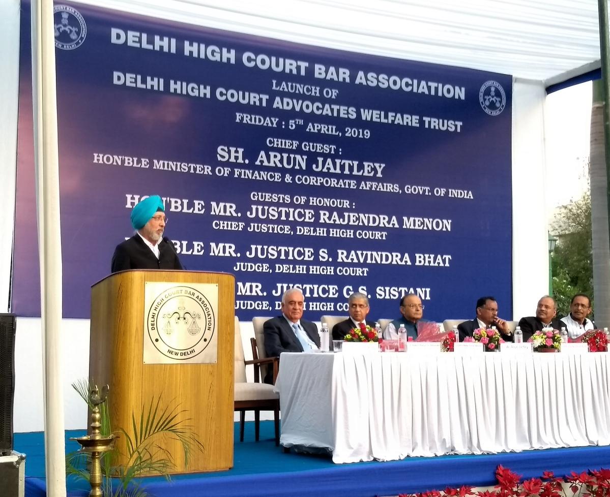 Jaitley, CJ Menon at DHCBA's launch of Delhi High Court Advocates Welfare Trust