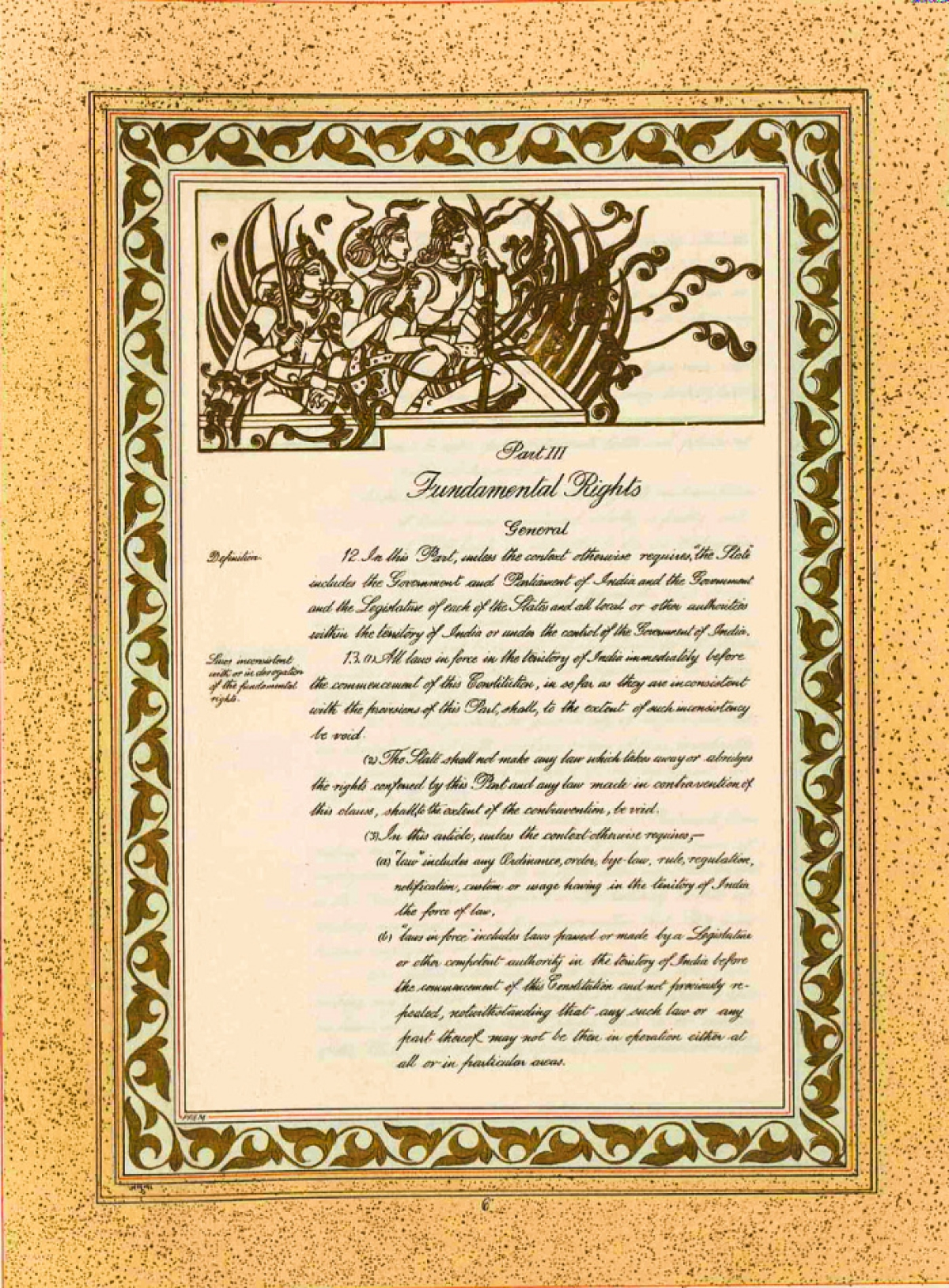 <em>Original Constitution that was hand written. Article 12 and 13 in Pat III, Fundamental Rights</em>