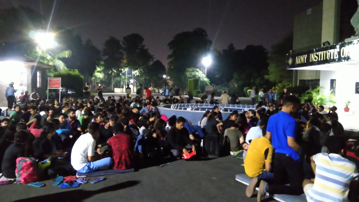 Students at AIL commenced their protest last night [Photo courtesy: Twitter]