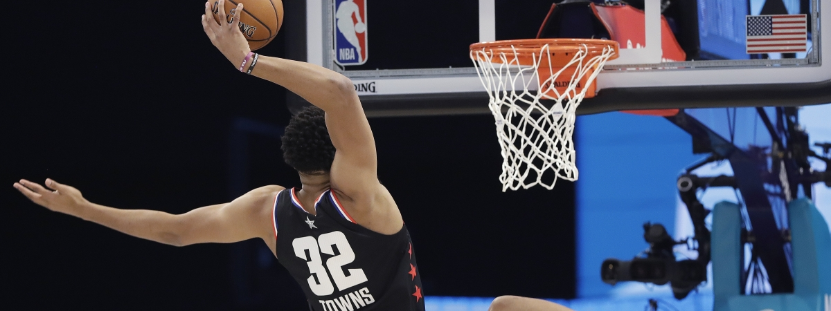 Team LeBron's Karl-Anthony Towns, of the Minnesota Timberwolves, may miss tonight's game vs. the Knicks after a car accident. (AP Photo/Chuck Burton)