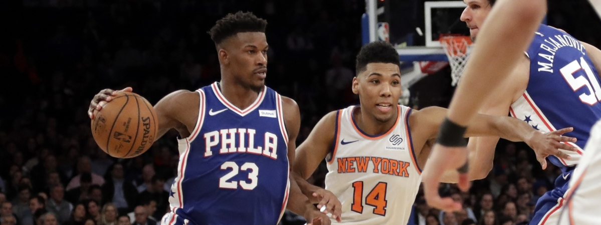 Philadelphia 76ers' Jimmy Butler (23) is driving to South beach to play for the Heat. (AP Photo/Frank Franklin II)