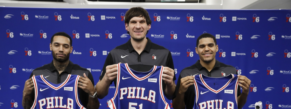 From left, Mike Scott, Boban Marjanovic, and Tobias Harris in their first Sixers press conference Thursday