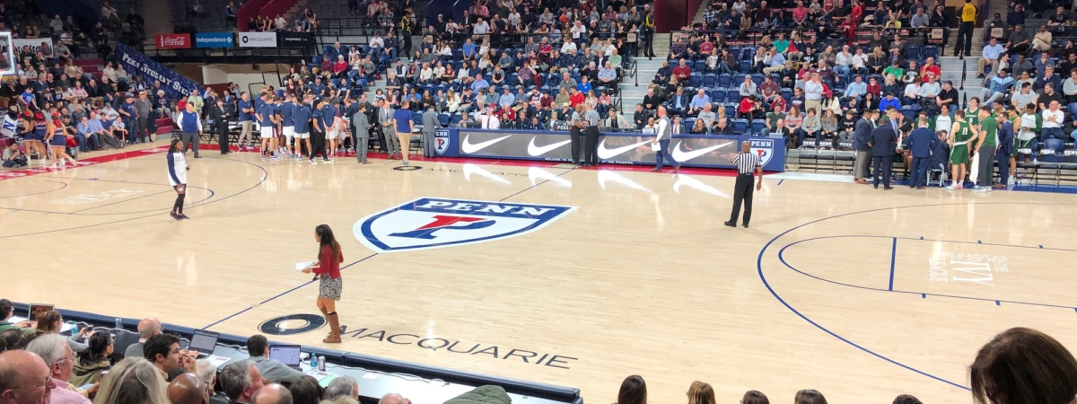 The Palestra readies for Penn-Dartmouth action.
