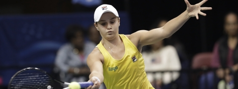 Australia's Ashleigh Barty defeated Viktoria Kuzmova, Slovakia, 4-6, 6-3, 6-4,  (AP Photo/Chuck Burton)