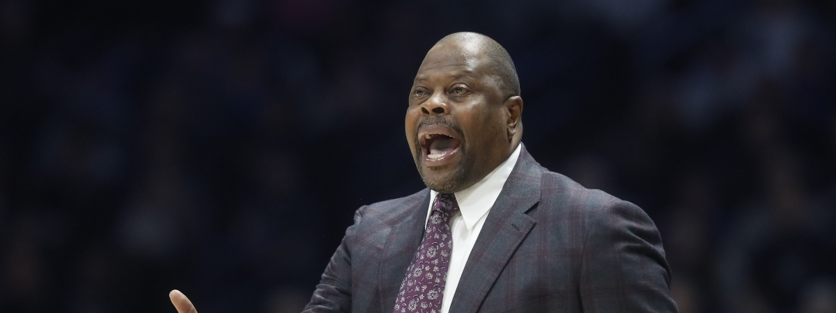 Georgetown head coach Patrick Ewing reacts at the bench during the first half of an NCAA college basketball game against Xavier, Wednesday, Jan. 9, 2019, in Cincinnati. (AP Photo/John Minchillo)