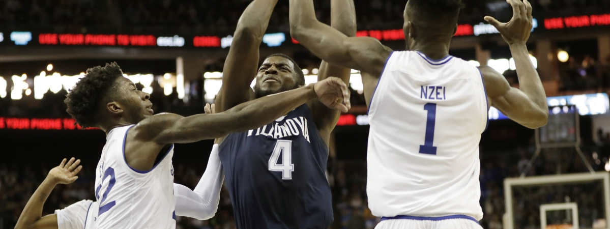 Seton Hall guard Myles Cale and Seton Hall forward Michael Nzei block Villanova forward Eric Paschall as Paschall goes toward the basket during an NCAA college basketball game, March 9, 2019. (Kathy Willens)