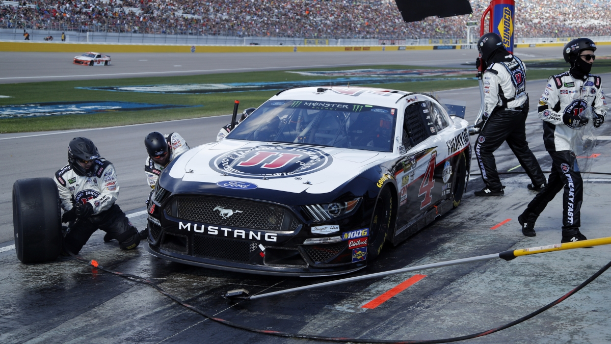 In this March 2019 file photo, Kevin Harvick makes a pit stop during the race at Las Vegas Motor Speedway
