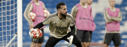 Ajax goalie Konstantinos Lamprou practices in Madrid on March 4, 2019.