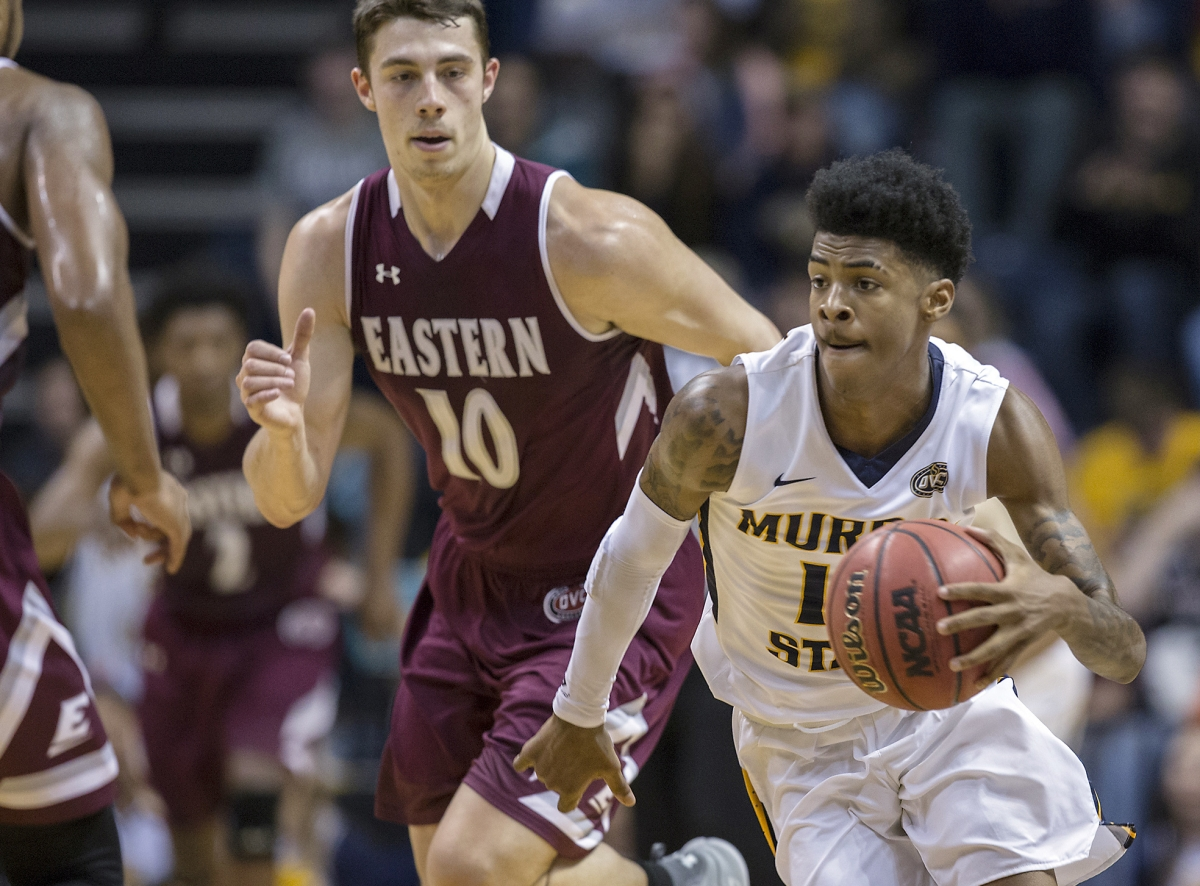 Murray State's Ja Morant drives in a January game against Eastern Kentucky (Ryan Hermens/The Paducah Sun)
