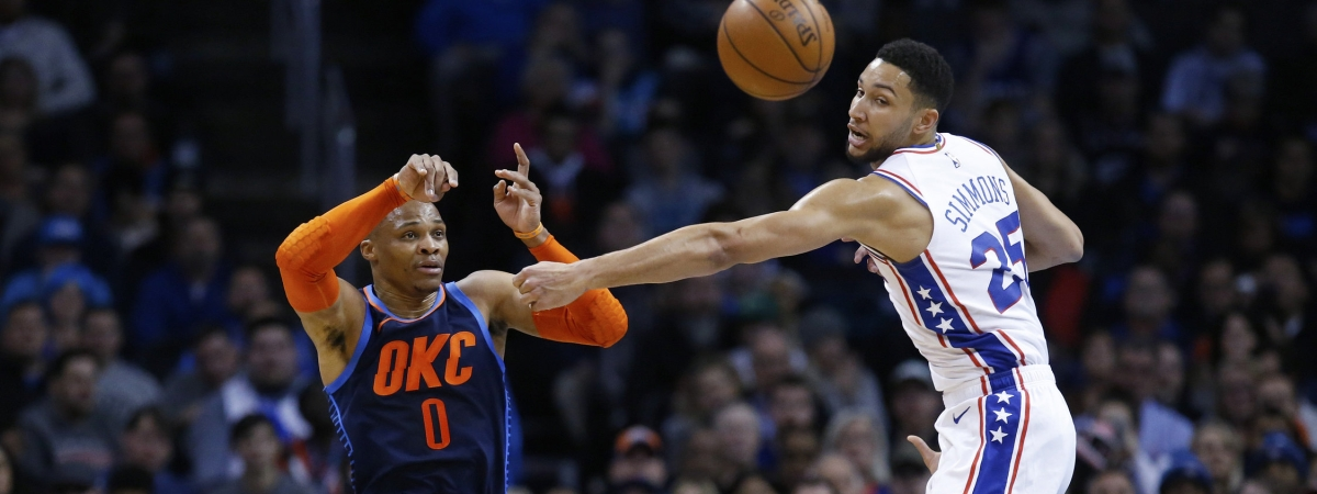 Oklahoma City's Russell Westbrook passes around Sixer Ben Simmons Thursday (Sue Ogrocki)