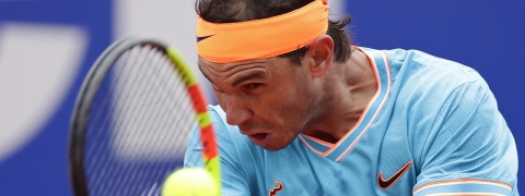 Rafael Nadal returns the ball to David Ferrer during his  match at the Barcelona Open, Thursday, April 25, 2019. Nadal won in straight sets. (AP Photo/Manu Fernandez)