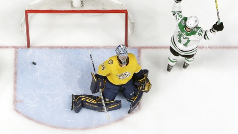 Dallas Stars right wing Alexander Radulov reacts after scoring his second goal against Nashville Predators goaltender Pekka Rinne during the second period in Game 5 of an NHL hockey playoff series on April 20, 2019.