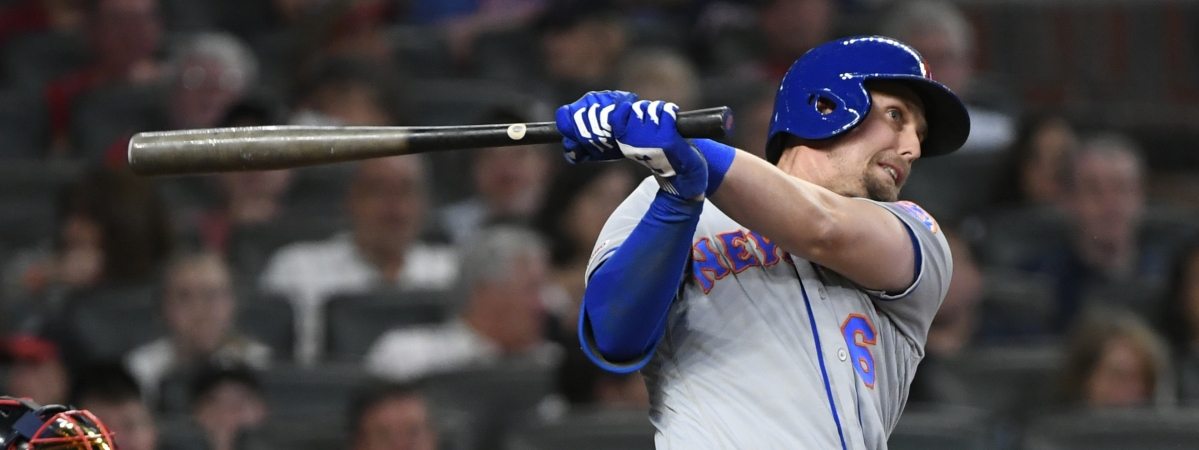 New York Mets' Jeff McNeil watches two-run double to right field during the fourth inning Friday (John Amis)