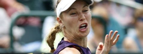 Caroline Wozniacki in April in Charleston, S.C. Today she's in Rome.