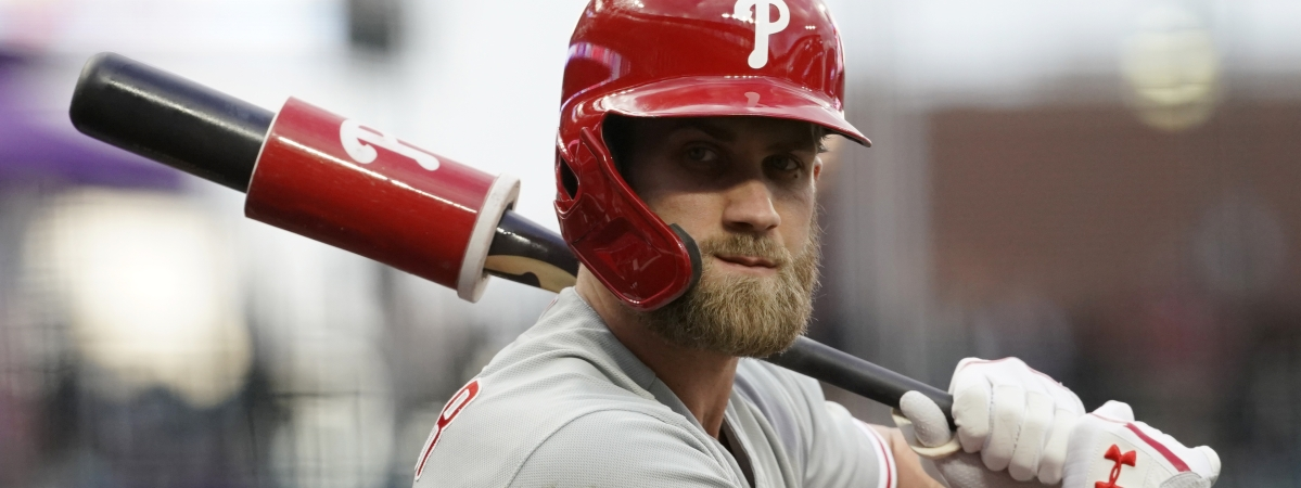 Philadelphia Phillies' Bryce Harper warms up in the on-deck circle during the first inning of the team's baseball game against the Colorado Rockies on April 18, 2019.