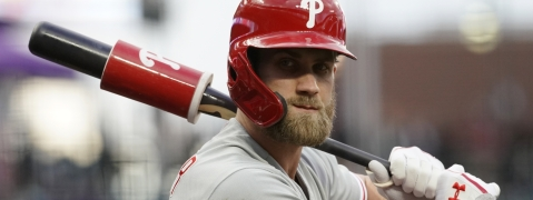 Philadelphia Phillies outfielder Bryce Harper was hit by a pitch on the right hand during an at-bat against the New York Mets on September 6, 2019. Harper was removed from the game. (AP File Photo)