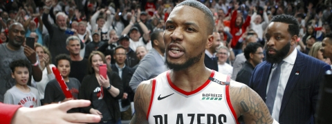 Portland Trail Blazers' Damian Lillard leaves the court after hitting the game-winning three-pointer to beat the Oklahoma City Thunder 118-115 in Game 5 of their best-of-seven first-round playoff series on Tuesday, April 23, 2019.