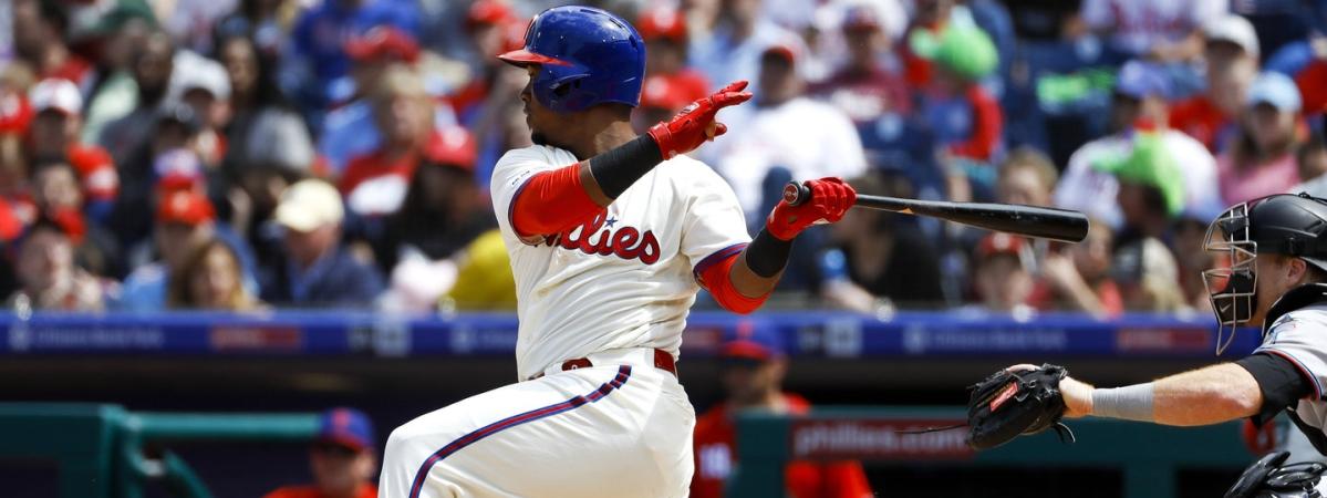Phillies shortstop Jean Segura triples against the Marlins on  April 28 (Matt Slocum)