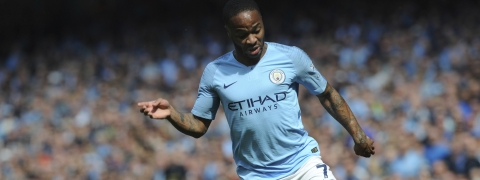 Manchester City's Raheem Sterling runs with the ball during the English Premier League soccer match between Manchester City and Tottenham Hotspur on April 20, 2019. Raheem Sterling was voted player of the year by soccer writers for his impact on Manchester City's bid for a domestic treble as well as his influential stance against racism in the game.