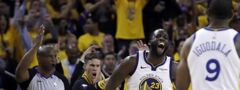 Trail Blazers' Draymond Green celeberates during Game 1 on May 14 (Ben Margot)