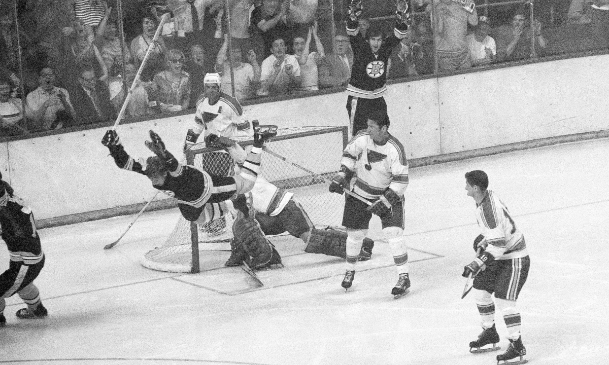49 years after the score by Orr, the St. Louis Blues seek their first Stanley Cup . . . against the Boston Bruins