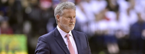 Sixers head coach Brett Brown in Game 1 on April 27 (Frank Gunn/The Canadian Press)