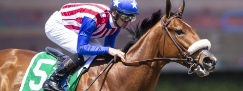 In this April 6, 2019, image provided by Benoit Photo, Bellafina, with Flavien Prat aboard, wins the Grade I, $400,000 Santa Anita Oaks. She's the 2-1 favorite for the 145th Kentucky Oaks but Chris Garrity is betting against her. (Benoit Photo via AP)