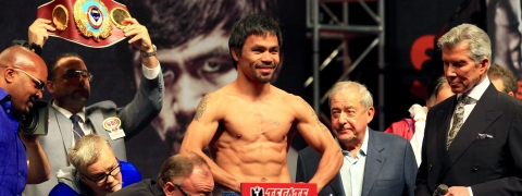 Manny Pacquiao weighing in at a previous fight.