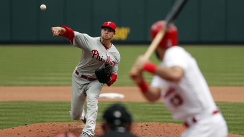 Phillies' Jerard Eickhoff throws in his last start May 8 in St. Louis (Jeff Roberson)