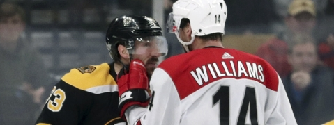 Bruins' Brad Marchand and Hurricanes' Justin Williams have a chat in Game 2 on May 12 (Charles Krupa)