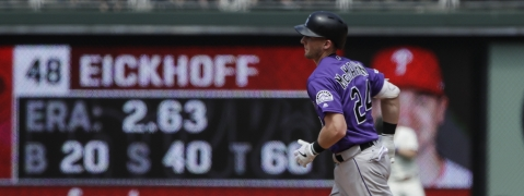Rockies' Ryan McMahon circles the bases after homering in the fourth inning against the Phillies on May 19 (Matt Rourke)