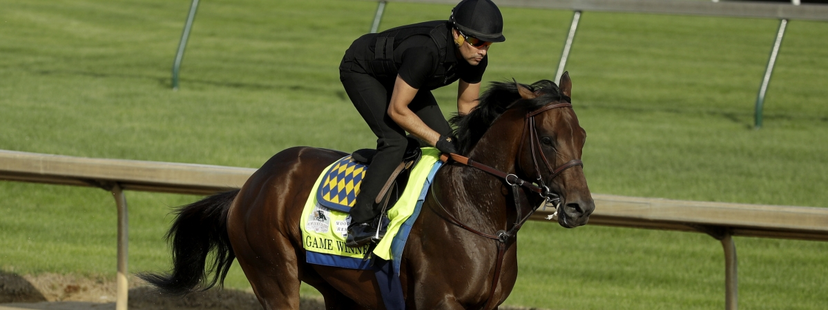 Game Winner warming up for the Kentucky Derby at Churchill Downs. Will he be a game winner or lose to his Improbable stablemate?