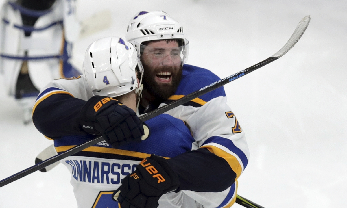 Gunnarsson goal in OT nets Blues a 3-2 over Bruins, tying the Stanley Cup Finals at one game each