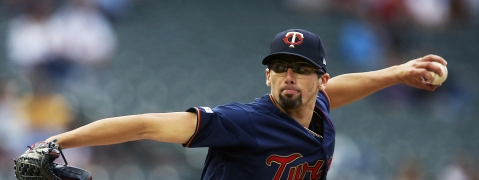 Twins' Devin Smeltzer throws in his major league debut against the Brewers on May 28 (Jim Mone)