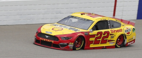 Joey Logano drives en route to securing the pole during qualifying on June 8 (Carlos Osorio)