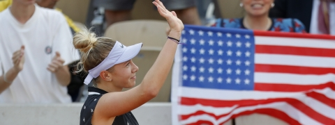 Amanda Anisimova of the U.S. celebrates winning her fourth round match on  June 3 (Pavel Golovkin)