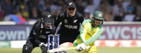 Australia's Usman Khawaja plays a shot during the Cricket World Cup match between New Zealand and Australia at Lord's cricket ground in London, Saturday, June 29, 2019. (AP Photo/Matt Dunham)